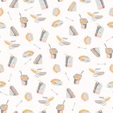 Packed Lunch Seamless Pattern, Hand Drawn Flat Color Vector Food vector illustration