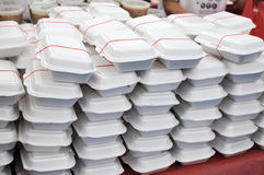 Packed meals in white containers Royalty Free Stock Photography