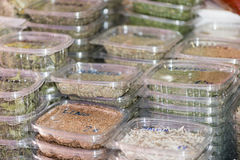 Packed Paelia spices Stock Photo