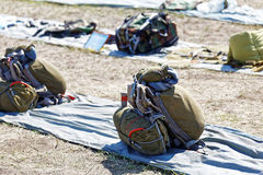 Packed parachutes Stock Images