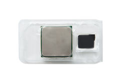 Packed processor. Processor in a plastic box in detail Royalty Free Stock Photos