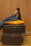 Packed and ready to go, retro style royalty free stock photo