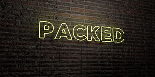 PACKED -Realistic Neon Sign on Brick Wall background - 3D rendered royalty free stock image Stock Photo
