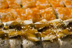 Packed rolls with eel and flying fish caviar, with cheese fillin. Detail of packed rolls with eel and flying fish caviar, with cheese filling Stock Photography