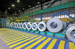 Packed rolls of steel sheet. Inside of plant Royalty Free Stock Photo