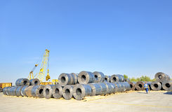 Packed rolls of steel sheet Royalty Free Stock Image
