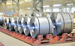 Packed rolls of steel sheet. Inside of plant Royalty Free Stock Image