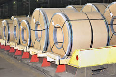 Packed rolls of steel sheet Stock Images