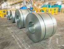 Packed rolls of steel sheet, Cold rolled steel coils Royalty Free Stock Images