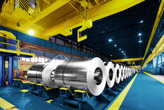 Packed rolls of steel sheet, Cold rolled steel coils Royalty Free Stock Image