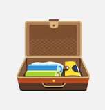 Packed suitcase for summer holiday - vector isolated illustration Stock Photography