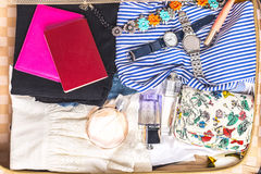 Packed suitcase. Of vacation items Royalty Free Stock Image