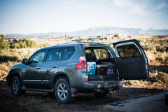 Packed SUV while camping. Packed up SUV while camping Royalty Free Stock Photography
