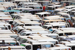 Packed Tight Mini Buses Stock Image