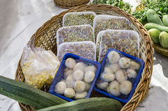 Packed vegetables. With container and sheet Stock Photo