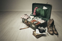 Packed Vintage Suitcase Stock Photo