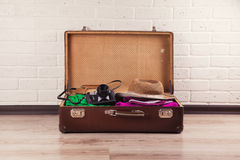 Packed Vintage Suitcase Royalty Free Stock Photography