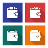 Packed wallets icons set. In flat style with long shadows Royalty Free Stock Photo