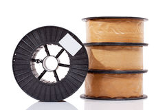 Packed welding wire copper alloy spools Stock Photos
