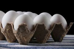 Packed white eggs on dark background close up.  stock images