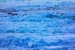 Packeis nära nordpolen i 2016, hummocky polar is Arkivbilder