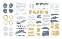 Packen av färgrika borsteslaglängder, målarfärg spårar, smetar, suddar, fläckar, klottrar isolerat på vit bakgrund Uppsättning av royaltyfri illustrationer