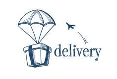 Packen med hoppa fallskärm snabbt hemsändningbegrepp som för sändningsflyget för fri luft nivån på vit bakgrund skissar klotter vektor illustrationer