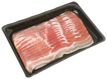Packet of Bacon. Streaky bacon in a plastic packaging tray Royalty Free Stock Image