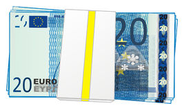 Packet of blue money. Paket of euro with numbers 20 Stock Image
