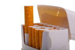 A packet of cigarettes in close-up Royalty Free Stock Image