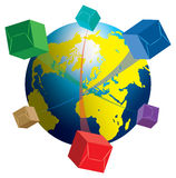 Packet delivery. Courier Services - Delivery of shipments worldwide Royalty Free Stock Photography