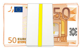 Packet of euro. With numbers 50 on a white background Stock Photo