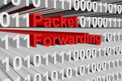Packet forwarding. In the form of binary code, 3D illustration Royalty Free Stock Photo