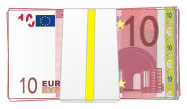 Packet of money. Large packet of euro monet with numbers 10 Vector Illustration