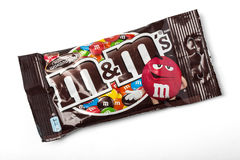 Packet of Peanut M&M's. Chisinau, Moldova - November, 12, 2015: Packet of Peanut M&M's milk chocolate made by Mars Inc. isolated on white background Royalty Free Stock Image