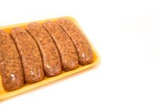 Packet of sausages royalty free stock photography