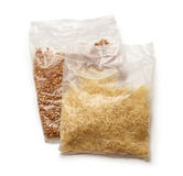 Packets of buckwheat and white rice Stock Image