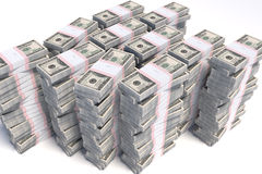Packets of 100 dollar bills. 3D illustration - Pile of 100 dollar packets Royalty Free Stock Image
