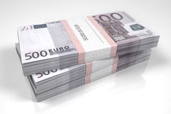 Packets of 500 Euro bills. 3d illustration Stock Photography