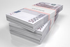 Packets of 500 Euro bills. 3d illustration Stock Images