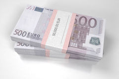 Packets of 500 Euro bills. 3d illustration Royalty Free Stock Images