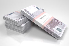 Packets of 500 Euro bills. 3d illustration Royalty Free Stock Photo