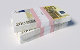 Packets of 200 Euro bills. 3D illustration - Packets of 200 Euro bills Royalty Free Stock Photo