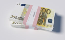 Packets of 200 Euro bills. 3D illustration - Packets of 200 Euro bills Royalty Free Stock Photography
