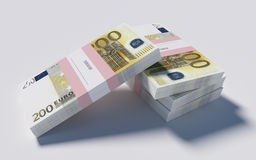 Packets of 200 Euro bills. 3D illustration - Packets of 200 Euro bills Stock Image