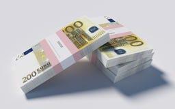 Packets of 200 Euro bills. 3D illustration - Packets of 200 Euro bills royalty free illustration