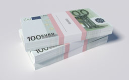 Packets of 100 Euro bills. 3D illustration - Packets of 100 Euro bills Royalty Free Stock Images
