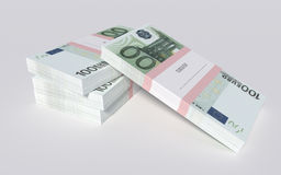 Packets of 100 Euro bills. 3D illustration - Packets of 100 Euro bills Royalty Free Stock Image