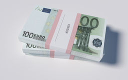 Packets of 100 Euro bills. 3D illustration - Packets of 100 Euro bills Stock Image
