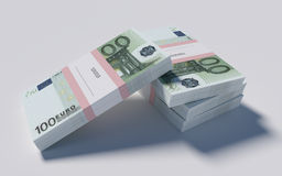 Packets of 100 Euro bills. 3D illustration - Packets of 100 Euro bills Stock Photos